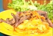 Fried Lamb With Carrots And Onion