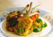 Grilled Lamb Cutlets With Colorful Veggies