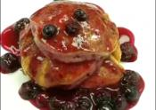 Lemon Soufflé Pancakes With Blueberry Sauce