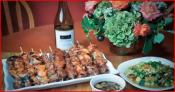 Grilled Asian Bbq Skewers Trio (pork, Chicken, & Beef)