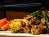 Asian Grilled Chicken Kebabs With Sliced Seedless Watermelon