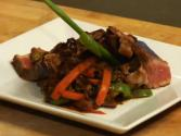 Asian Marinated New York Strip With Peppers In Black Bean Sauce