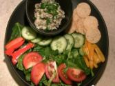Baba Ganouche With Crackers And Salad 