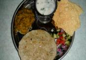 Baingan Bhartha - Roasted Eggplant Curry, Masala Chaas (spicy Buttermilk) And Bajra(millet) Roti