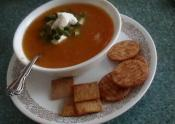 Cheddar Cheese Soup With Bakes Potatoes