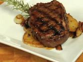 Balsamic And Rosemary Marinated Sirloin Steak With Portabella Mushroom And Potato Hash