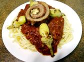 Classic Pasta Braciole With Beef Steak And Italian Tomatoes 