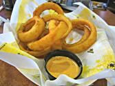 Beer Battered Onion Rings With Roasted Garlic Ranch Dip