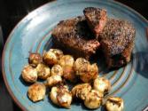 Bison Sirloin Steak &amp; Blackend Calamari Buttons