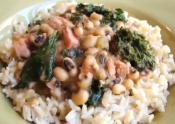 New Year&#039;s Special Black Eyed Peas With Pork And Greens