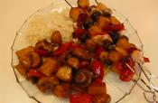 Chicken Kebabs Marinated With Soy Sauce And Brown Sugar