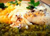 Cheesy Yellow Pepper Grits With Striped Bass And Roasted Poblano Vinaigrette