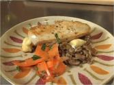 Chicken Breast Stuffed With Brie And Artichokes With Risotto And Carrot Salad