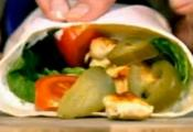 Wrapped Chicken Kebab With Pickles And Garlic Sauce