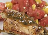Chicken With Wine Basil Sauce And Watermelon Mango Salad