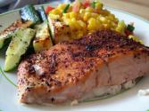 Chili Rubbed Salmon With Sweet Potatoes And Vegetable Sauté