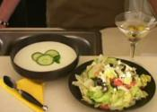 Chilled Cucumber Soup With Greek Salad