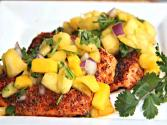 Chili Salmon With Pineapple Mango Salsa