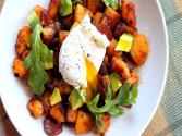 Chorizo Hash With Poached Egg & Breakfast Pizza