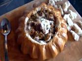 Chunky Beef &amp; Mushroom Soup In Bread Bowl