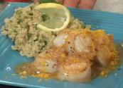 Glazed Sea Scallops With Lemon Parsley Quinoa