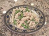 Cold Shrimp Pasta Salad With Asparagus And A Vinegar And Oil Based Dressing