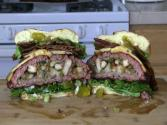 Smokingpit.com - Colossal Trinity Bbq Surf &amp; Turf Burger Slow Cooked On A Yoder Ys640 Pellet Smoker