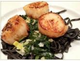 Coquilles St. Jacques With Squid Ink Pasta