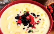 Creamy Corn Pepper And Yam Chowder With Salsa