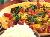 Curry Tofu With Spinach Tomato And Bell Pepper