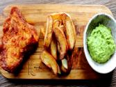 Delicious Fish And Chips With Mushy Peas