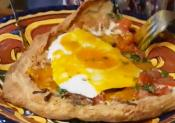 Duck Egg Pizza With A Puff Pastry Crust 