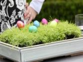 Easter Dinner Table: Modern Floral With Eggs, Grass, Flowers