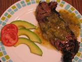 Ny Strip Con Chiles Verde