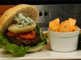 Grilled Garlic And Basil Hamburgers With A Side Of Honey Cantaloupe