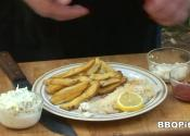 Grilled Fish And Potato Chips With Coleslaw