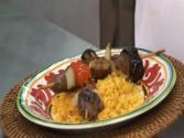 Grilled Lamb Skewers with Fig & Aubergine