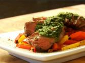 Grilled Steak With Chimichurri Sauce & Roasted Peppers