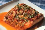 Grilled Salmon With Garlic, Ginger And Basil Sauce
