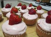 Homemade Strawberry Cupcakes With Strawberry Frosting