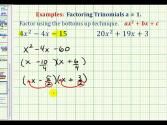 Ex:  Factor Trinomials When A Is Not Equal To 1 - Bottoms Up Method