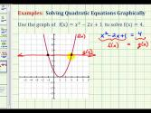 Ex 2:  Solving Quadratic Equations Graphically Using The Intersection Method