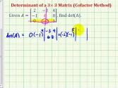 Ex 2: Determinant Of 3x3 Matrix - Cofactor Method