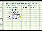 Ex 5:  Find A Quadratic Function With Complex Zeros (alternative Method)