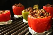 Grilled Stuffed Red Pepper Rings