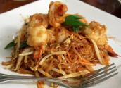 Rice Noodles With Stir Fried Pork Shrimp And Bean Sprouts
