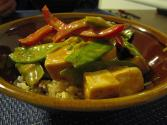Rice With Snow Peas And Red Pepper