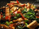 Stir Fried Pork Liver With Spinach And Mushrooms