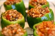 Ground Meat & Rice Stuffed Green Pepper