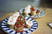 Toasts With Tomato  Basil & Mozzarella